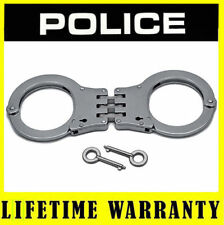 Police Metal Professional Heavy Duty Steel Hinged Double Lock Handcuffs - Silver