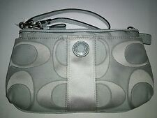 New Coach Signature Stripe Sateen Outline C Large Wristlet