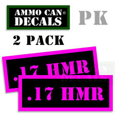 """17 HMR Ammo Can Labels Hornady Ammunition Decals Stickers 2 pack PINK BLACK 3"""""""