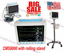 FDA 12.1'' Vital Signs Patient Monitor ECG/NIBP/SPO2/RESP/TEMP +Rolling stand