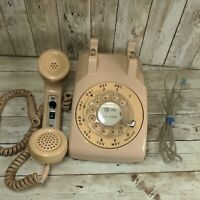 Western Electric Bell System Rotary Dial Desk Phone Tan Adjustable Ringer
