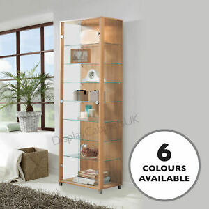 HOME Double Oak Effect Glass Display Cabinet Glass Shelves Mirror Back Lock