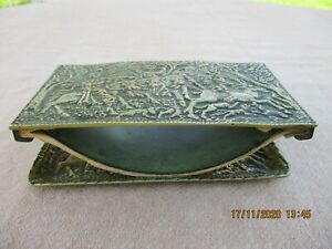 ANTIQUE FRENCH ART DECO MAX LE VERRIER BRONZE DESK INK BLOTTER WITH ITS TRAY