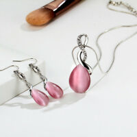 Fashion Silver Plated Women Wedding Jewelry Opal Dangle Drop Earring Necklace LD