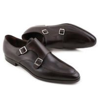 NIB $1475 BRIONI Dark Brown Double-Buckle Monk Strap US 7.5 Dress Shoes