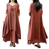 Women Long Sleeve Casual Boho Cotton Hippie Blouse Gypsy Boho Mini Long Dresses