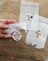 Wedding Confetti EMPTY Cello Bags & stickers, throwing bag, sprinkle the love