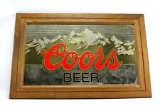 "Vintage 1987 Coors Beer 28"" Gold Foil Mountain Fogged Mirror Sign"