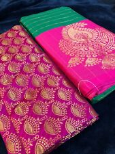 Beautiful Party Wear Soft Cotton Silk Saree With Jacuard Unstiched Blouse