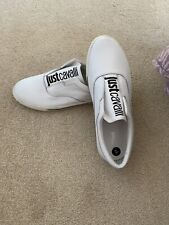 JUST CAVALLI New Mens White Leather Distressed Slip On Trainers Size 10 Rrp £225