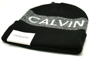 Calvin Klein Men's Graphic Beanie Knit Hat Black White Logo New! NWT