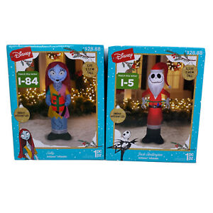 Disney Christmas Inflatables NBC Jack Skellington And Sally 5' Lighted Figures