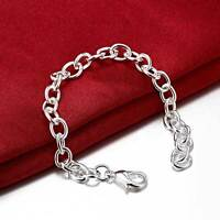 Stunning 925 Sterling Silver Layered Solid Classic Charm Chain Bracelet  8''
