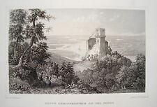Burg Greifenstein Donau Sankt Andrä-Wörden Österreich alter Stahlstich  1844
