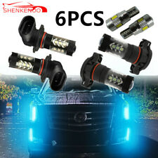6x Ice Blue LED Fog Driving DRL Light Bulb Combo For Cadillac Escalade 2007-2014