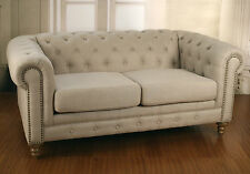 Chesterfield 2 Seater Sofa 100% Linen 2 Seat Sofa USA Oak Hardwood Couch Lounge