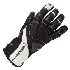 Spada Burnout Leather Motorcycle Motorbike Gloves Black White Grey