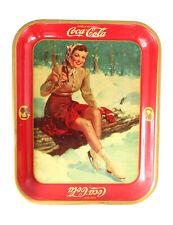 Vintage 1941 Coca Cola Coke Tray Ice Skater Winter Scene American Art Works