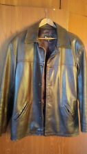 Politix full heavy leather jacket brown  men's size small mafia gansta like new