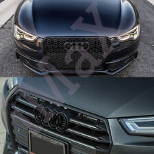 For Audi Rings Black Grill Front Hood A3 A4 S4 A5 S5 A6 S6 SQ7 TT Badge Emblem