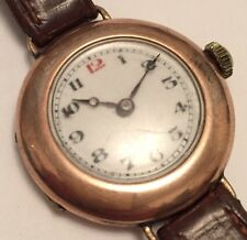 WW1 Era 9ct Gold Trench Style Watch Stauffer (SS&Co IWC) Movement Working