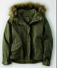 Women's American Eagle Green Olive Fur Hooded Coat Jacket Parka Size XL~NEW