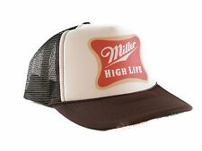 Miller High Life beer Trucker Hat mesh hat snapback hat tan brown