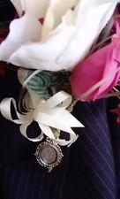 New Bride/Groom Handmade Wedding Buttonhole, Bouquet, Lapel Cameo Memory Brooch