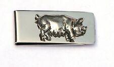 Pig Sow Hog Pewter Emblem Money Clip Free Engraving Gift Present 272