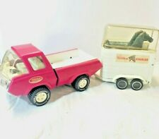 Vintage TONKA STABLES Rare PINK PICKUP TRUCK & HORSE TRAILER 1970-73 - Complete