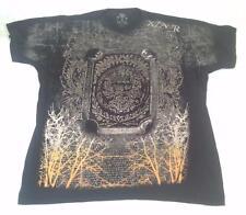 Mens Xzavr Unlimited XAR Skulls Face Crypt Silver Foil Black T-shirt 2XXL