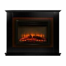 Devanti 2000w Electric Fireplace Mantle Portable Fire Log Wood Heater - EFLB2000FRAMEBK