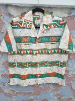 Vintage 1950s Barkcloth Midcentury Tiki Eddy Acapulco Hawaiian Shirt M Atomic
