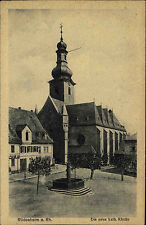 Rüdesheim Hessen Rheingau ~1910 Kirche Marktplatz Kirchturm Turm Brunnen Platz