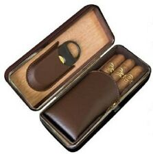 3 Cigar Brown Cigar Padded Leather Case ~ With a Built-In Guillotine Cutter