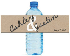 """Kraft paper with script writing wedding anniversary Water Bottle Labels 8""""x2"""""""
