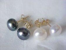 Hot Sale  AAA 9-10 mm South Seas 1 white 1 black pearl earrings with 14 k stud