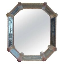 1960s Venetian Murano Glass Wall Mirror Clear w/ Light Pink Decorative Flowers