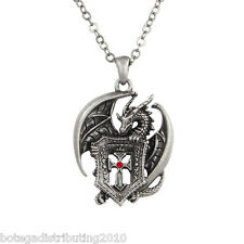 Mystical Dragon Shield Cross Necklace  Silver Lead Free Pewter Red Gem Jewelry