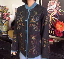Denim & Co Denim Embroidred Jacket Size M Designer Spring Summer Fashion Bohemia