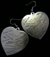 I Love You in Every Language Heart Earrings Oxidized Matt Silver Large Valentine