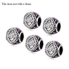 5Pcs European Spacer Beads Tibetan Silver Cz Fit Snake Bracelet Making Jewelry