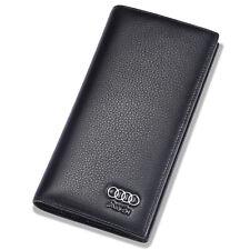 Audi Men Long Wallet Black Genuine Leather with 11 Credit Card Slots ID Window