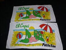 Pr Vtg Beach Towels El Coqui Puerto Rico Frog on Beach Cute! Souvenir