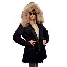 Schwarz Damen Parka mit Raccoon Pelzbesatz für Kapuze Jacke mit Waschbär Fell