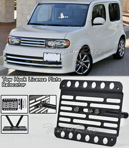 For 09-14 Nissan Cube Front Bumper Tow Hook License Plate Bracket Relocator