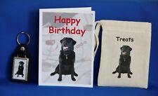I proprietari di cani labrador nero regalo Set cartolina Di Compleanno Borsa di tela trattare e portachiavi