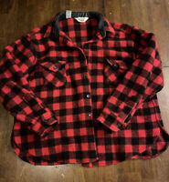 Vintage 1960's Woolrich Heavy Flannel Red and Black Plaid Men's SIze Large
