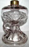 Antique Clear Glass Kerosene or Oil Footed Hand Lamp Late Petal EAPG Pattern