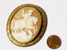 Antique Victorian Large Carved Shell cameo of GEORGE & DRAGON Signed to Back